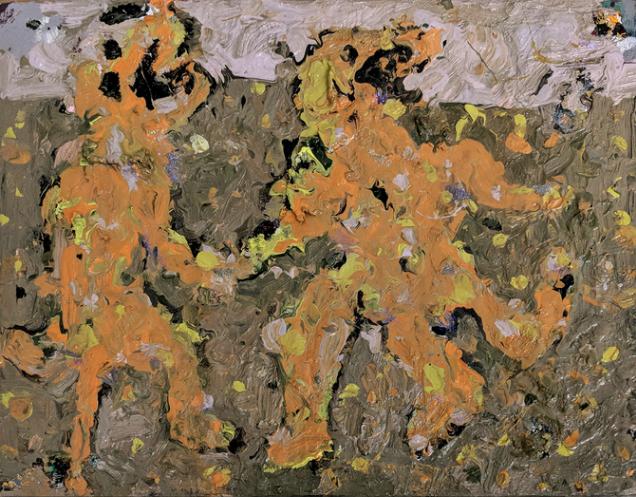 Farrell Brickhouse,  Age of Volcanos 4,  2018, oil, glitter on canvas, 14h x 18w in.