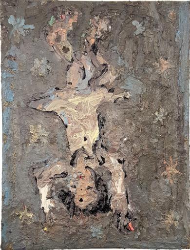 Farrell Brickhouse,  Falling Girl,  2016, oil, glitter on canvas, 24h x 18w in.