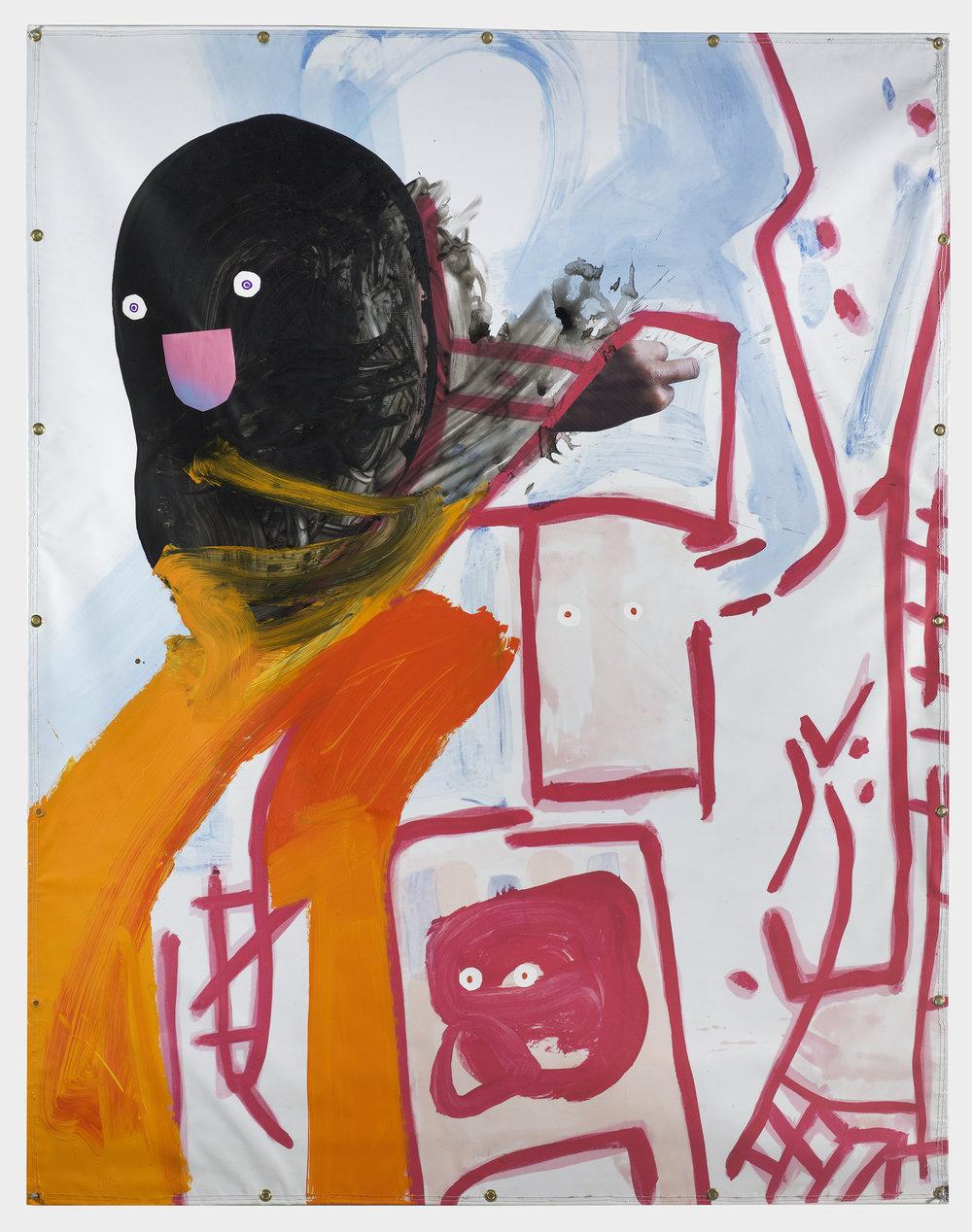 David Humphrey,  Friends,  2018, acrylic on printed vinyl, 77h x 60w in.