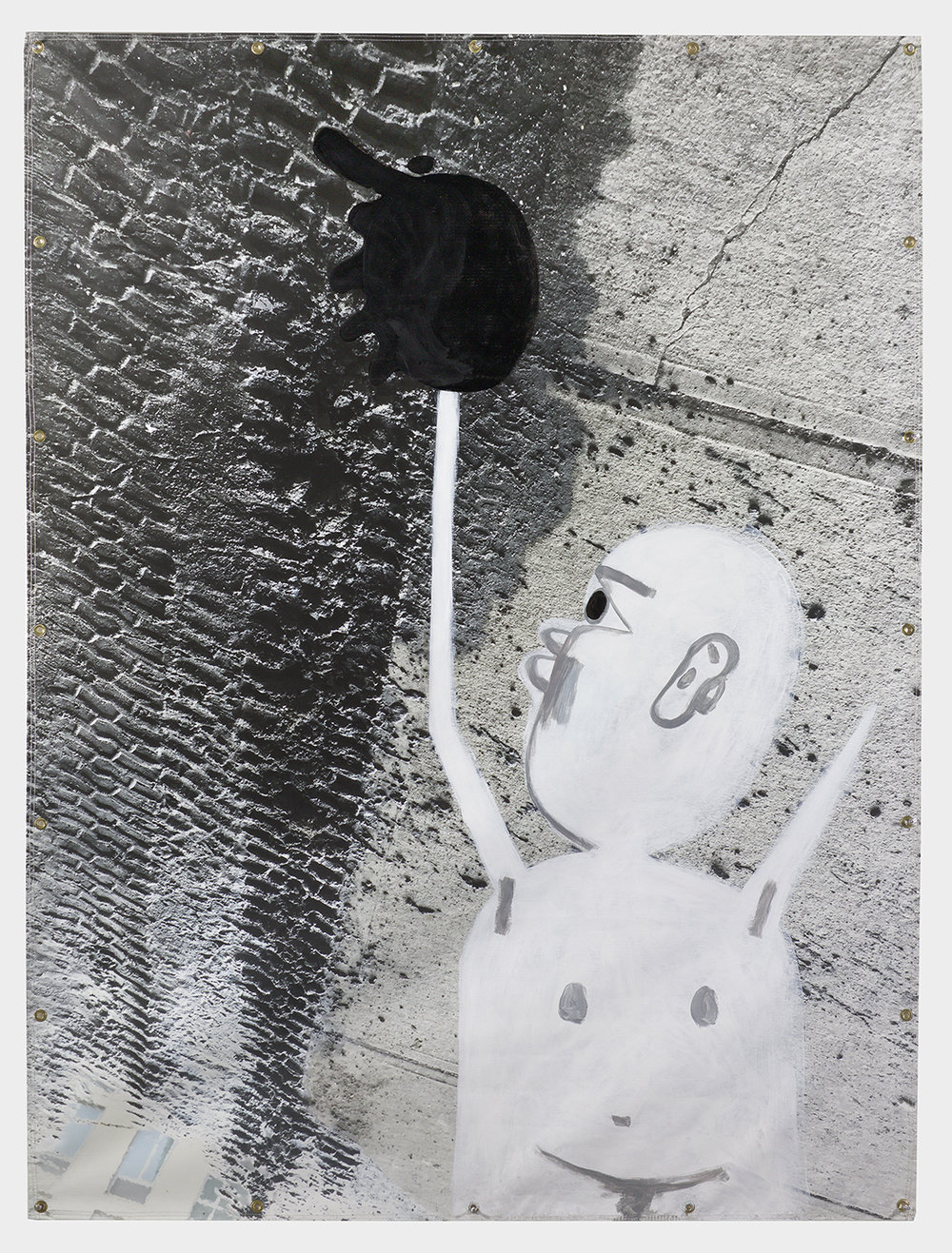 David Humphrey,  Tread,  2018, acrylic on printed vinyl, 79.5h x 60w in.