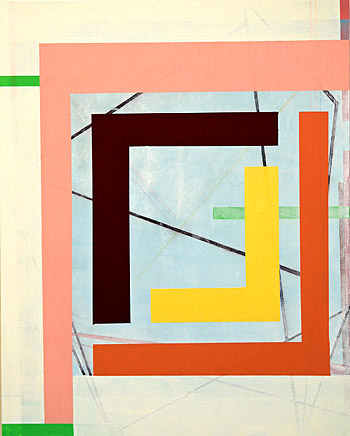 Gary Peterson,  Reconfigure,  2010, acrylic & colored pencil on masonite panel, 20h x 16w in.