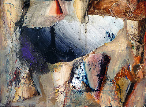 Mike Olin,  Cave No Feather,  2010, oil, mixed media on linen, 11h x 15w in.