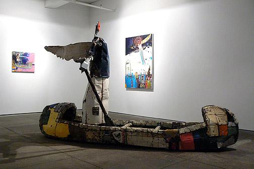 Matthew Blackwell,  Crossing Over,  2011, tin, metal studs, enamel, mixed media, 76.5h x 130w, x 32d in.