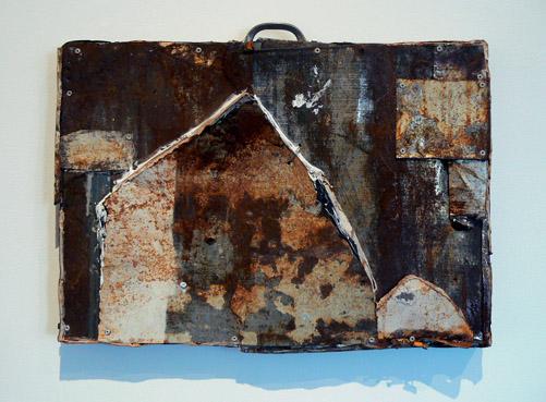 Matthew Blackwell,  Hobo,  2011, tin and caulking, 14.5h x 19.5w x 3.25d in.