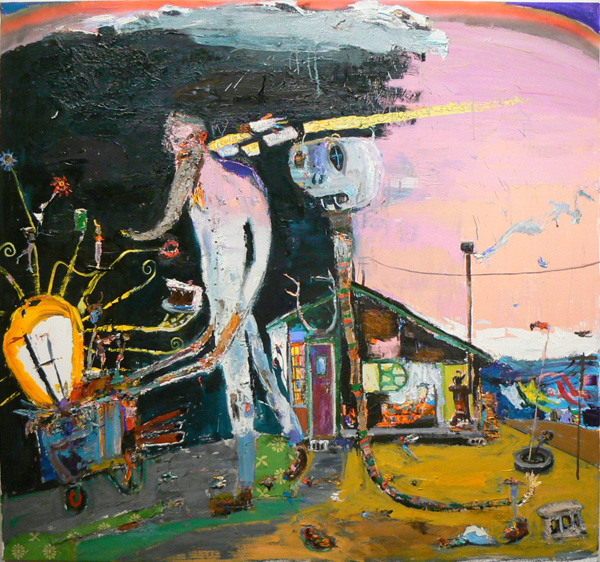 Matthew Blackwell,  Troubles in 3SN2S,  2011, acrylic, oil, and spray paint on canvas, 51.5h x 55w in.