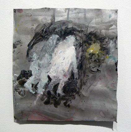 June Leaf,  A Couple Walking,  2010-11, acrylic on tin, 10h x 9.25w in.