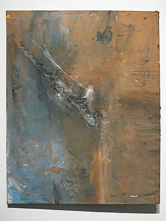 June Leaf,  Figure Climbing Staircase,  2011, acrylic, charcoal, and chalk on paper mounted on canvas, 30h x 24w in.