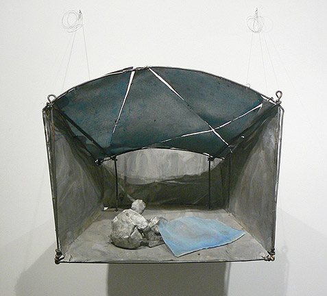 June Leaf,  Figure Covering a Woman,  2010-11, tin, wire, fabric, acrylic, and steel rods, 26h x 32w x 20d in.