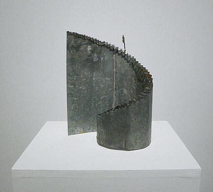 June Leaf,  Figure Descending Staircase,  2010-11, tin, 13h x 11w x 7d in.