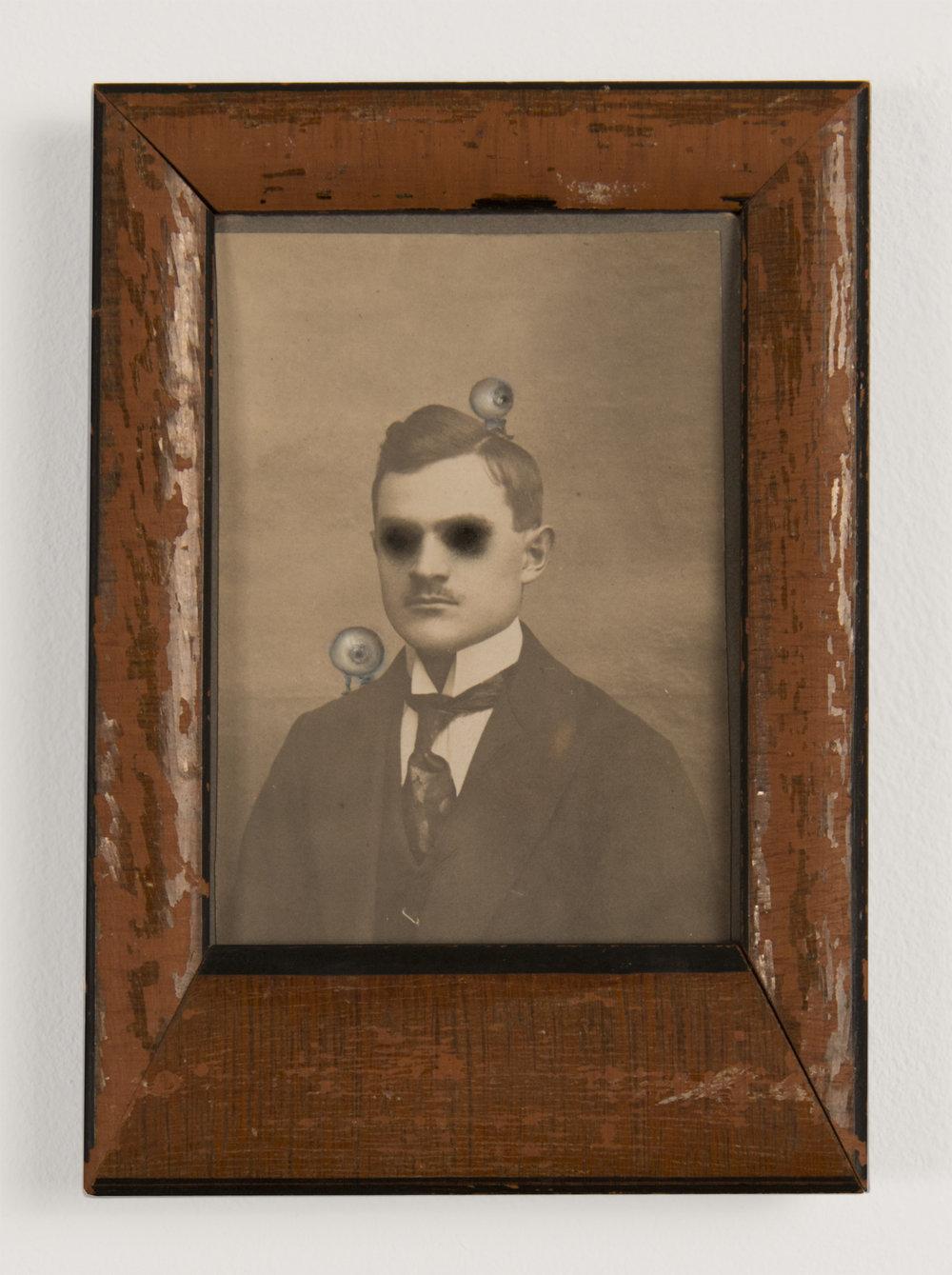 Jana Paleckova,  untitled (Eyeballs),  2015, oil paint on vintage photograph, 5h x 3 1/2w in.