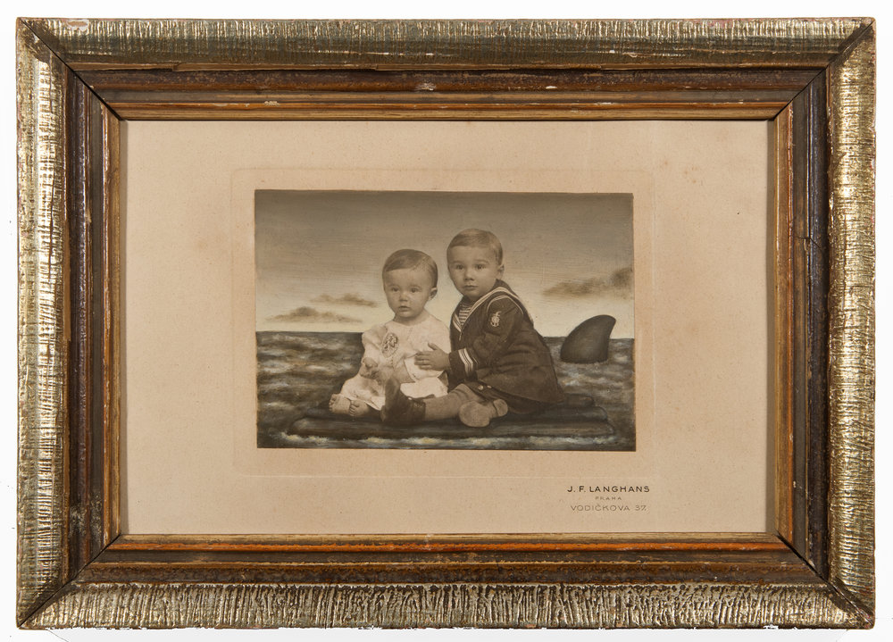 Jana Paleckova,  untiteld (two boys and shark fin),  2017, oil paint on vintage photograph, 7h x 10w in.