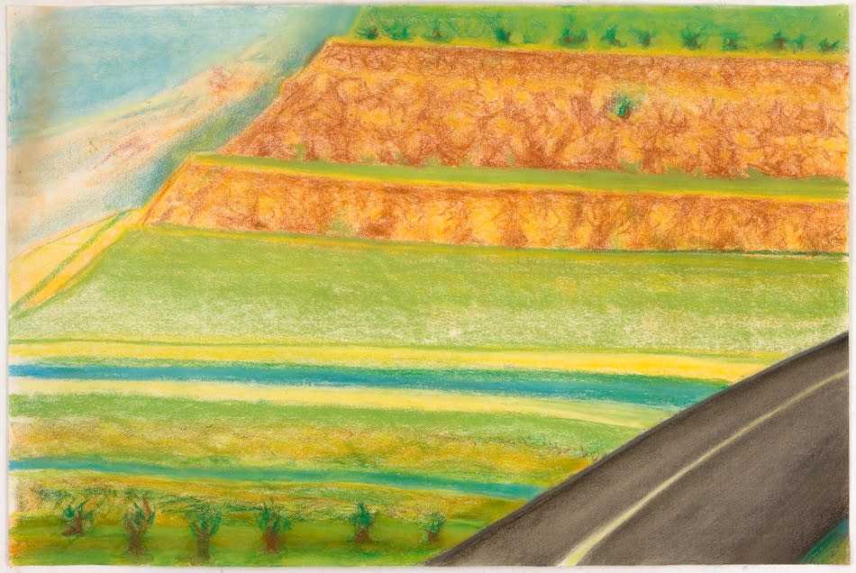 Richard Artschwager,  Diagonal Road with Mesa,  2009, oil and pastel on paper, 15 1/8h x 38w in.