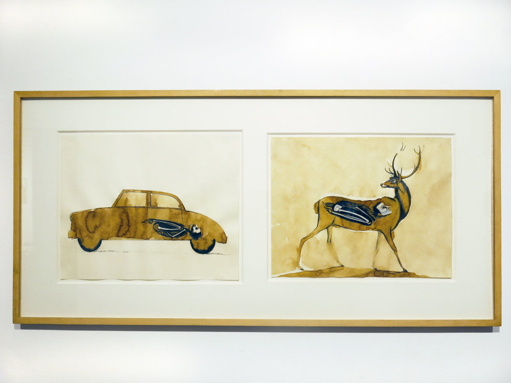 David True,  Rite of Passage II,  1980, mixed media on paper, 17.5h x 36.5w in.