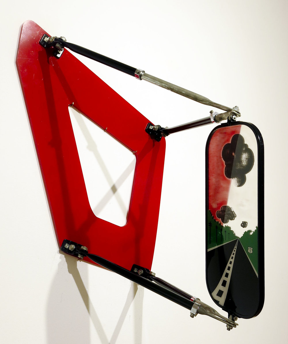 Allan D'Arcangelo,  Landscape Bus Mirror , 1970, Mixed media, 18 1/2h x 22w x 13 3/4d in. Ed. 2 of 100