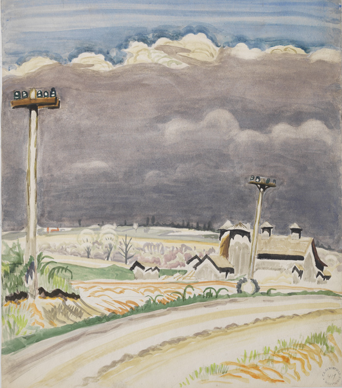 Charles Burchfield,  Road with Telephone Poles , 1917, Watercolor, gouache, and pencil on paper, 20 3/4h x 18 1/4w in