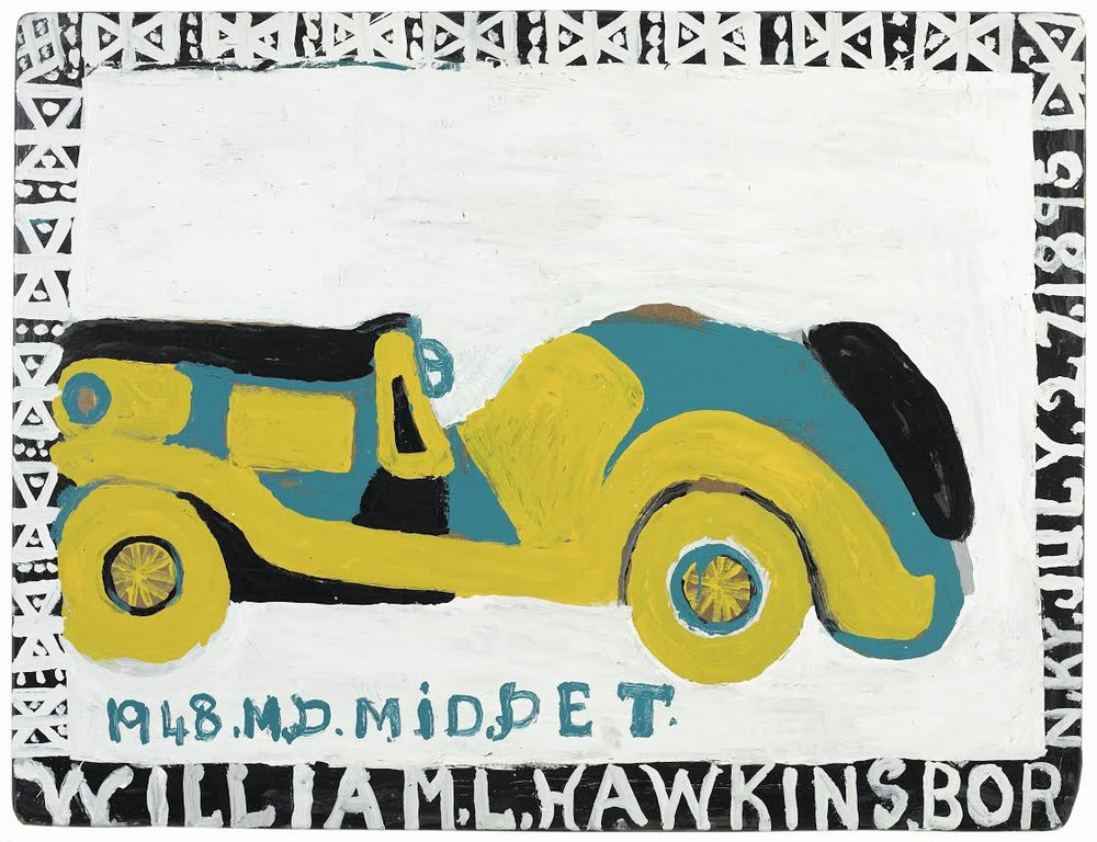 William Hawkins,  1948 M.G. MIDGET , 1989, Enamel on masonite, 36 1/2h x 48w in.