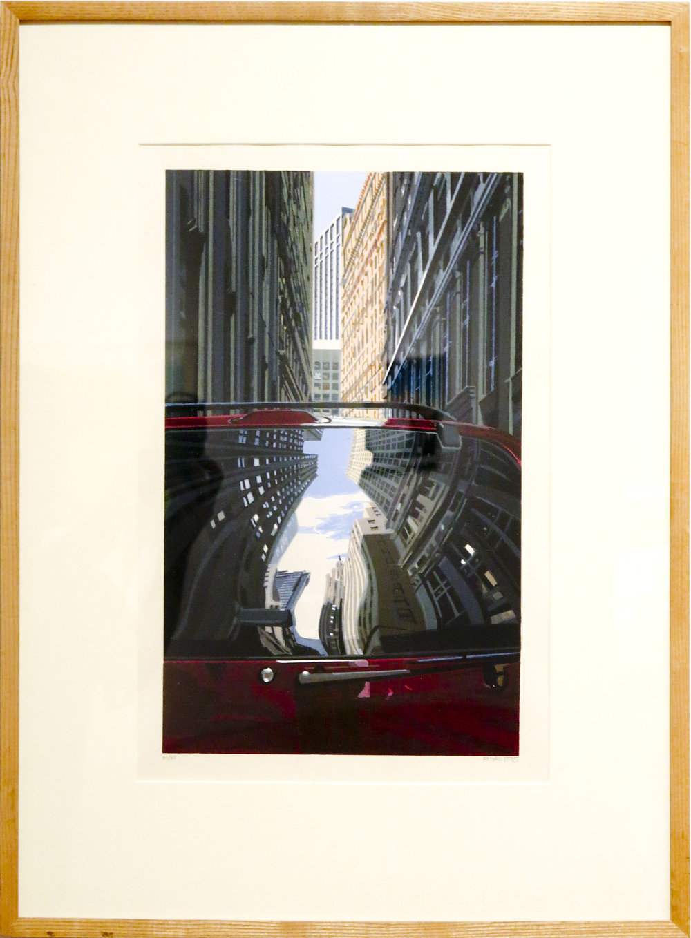 Richard Estes,  Downtown Reflections , 2001, Color woodcut print, 16 1/4h x 10w in. Ed. 40 of 49