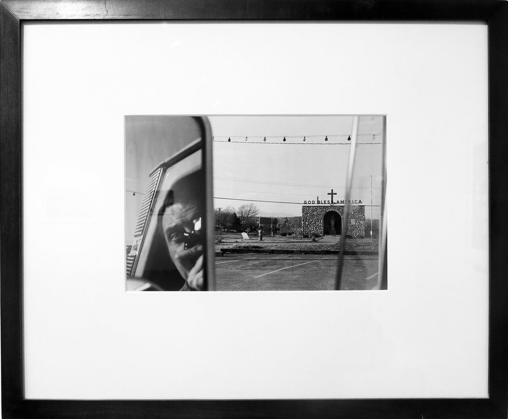 Lee Friedlander,  Self Portrait Route 9W , 1969. Printed in 1978, Gelatin silver print, 11h x 14w in.