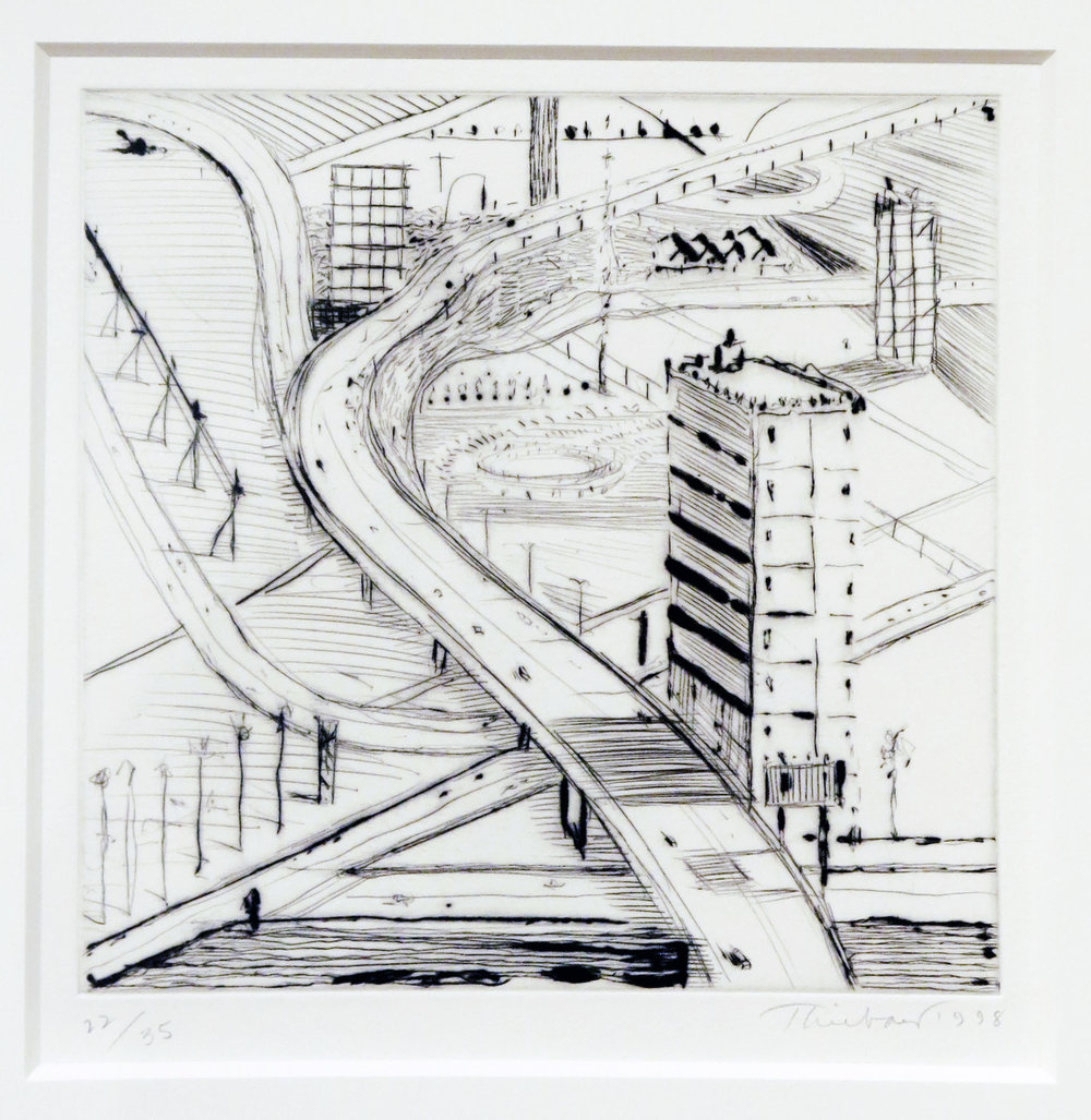 Wayne Thicbaud,  Freeway Building , 1998, drypoint, 12 1/2h x 12w in. Ed. 22 of 35