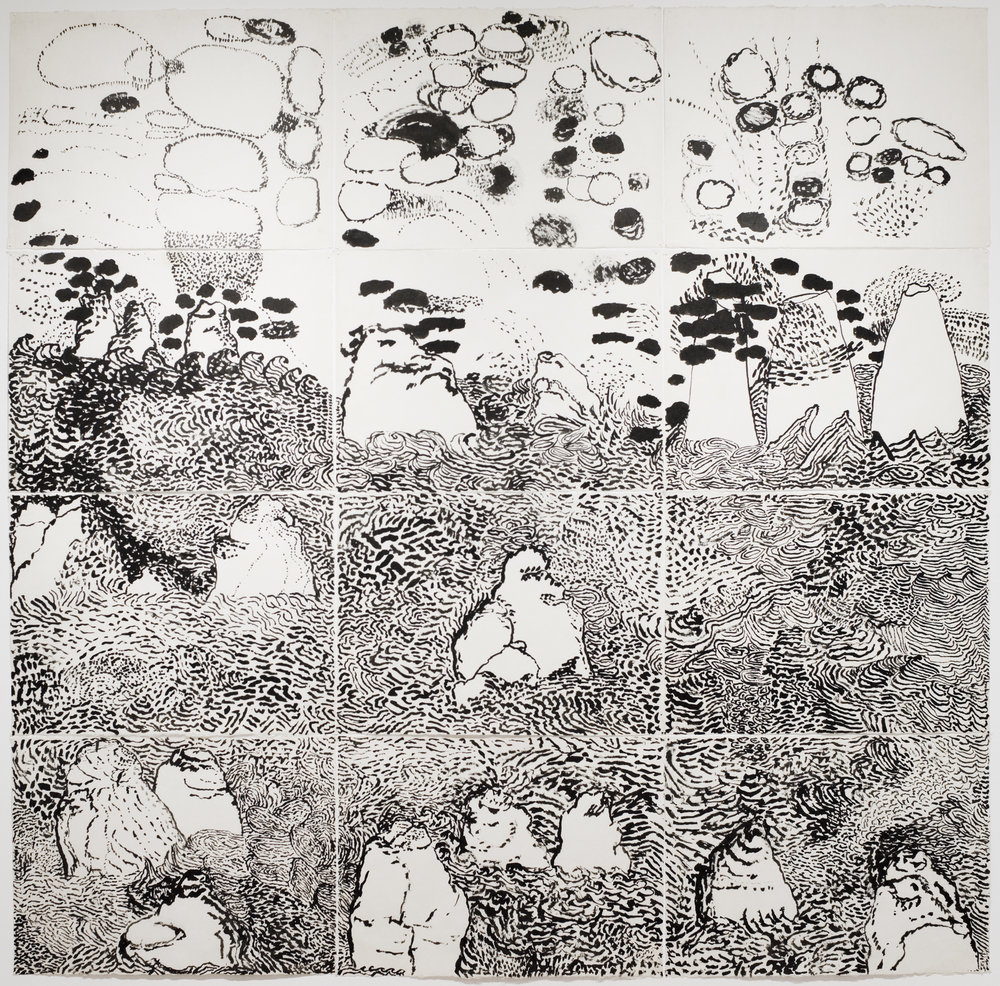 Jenny Snider,  Fuji,  1972, sumi ink on rice paper, 87h x 84w in.