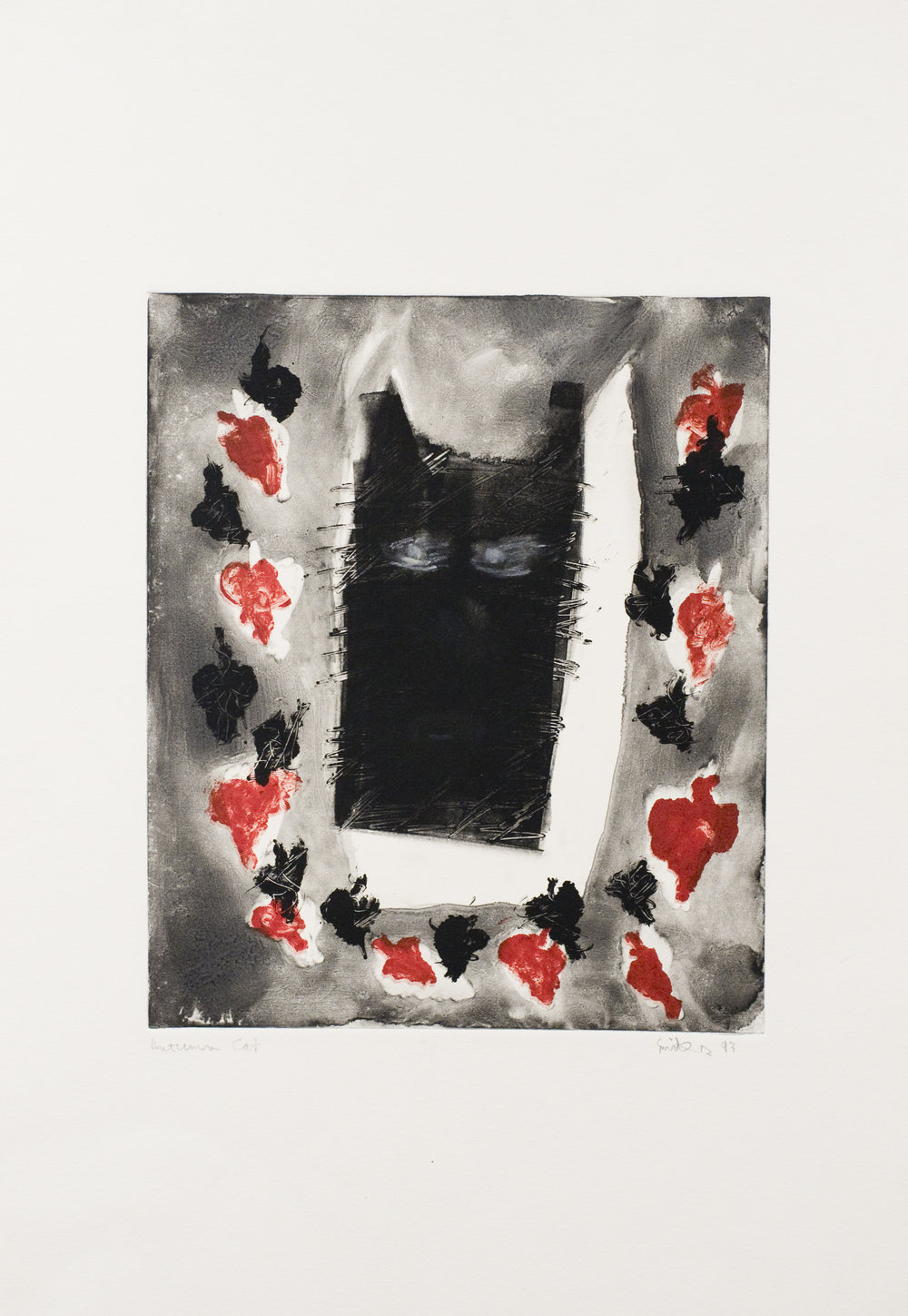 Jenny Snider,  Autumn Cat,  1993, monoprint, 22h x 15w in.