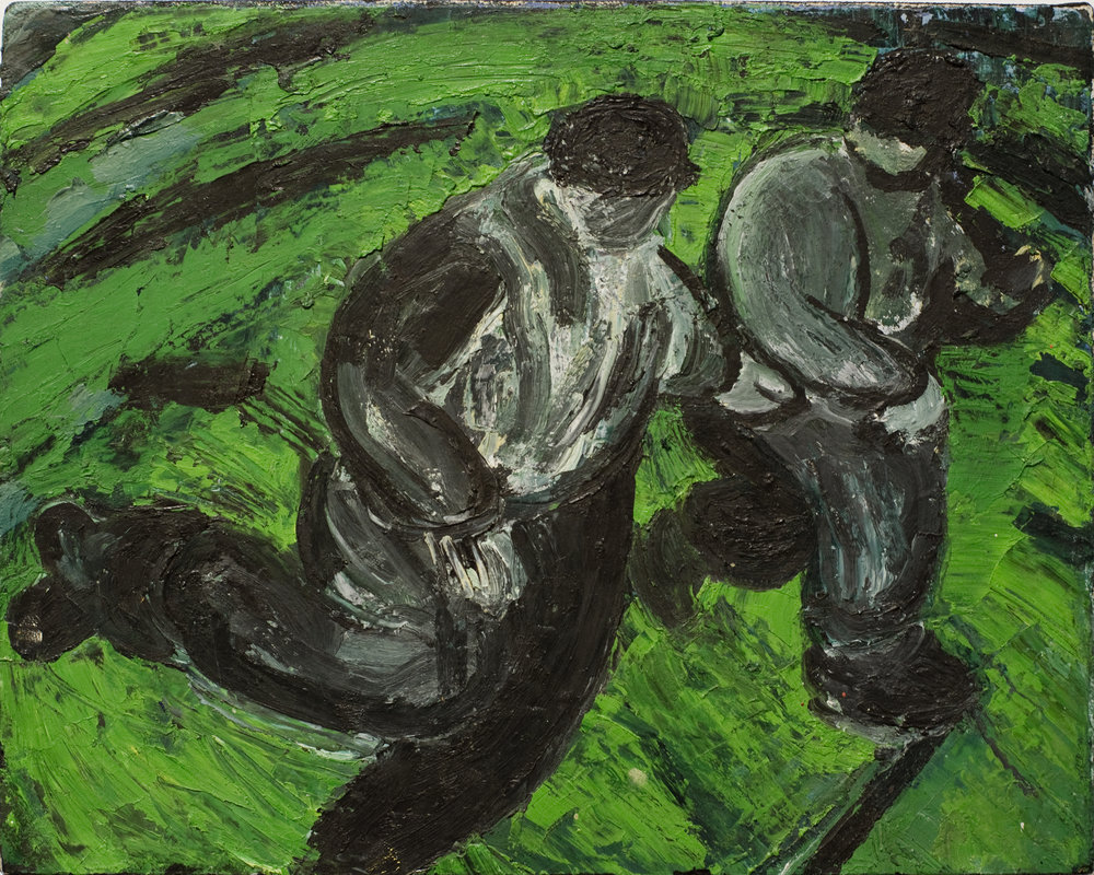 Jenny Snider,  Chelm II: The Hill Pushed Back , 1982, oil on paper on canvas, 8h x 10w in.