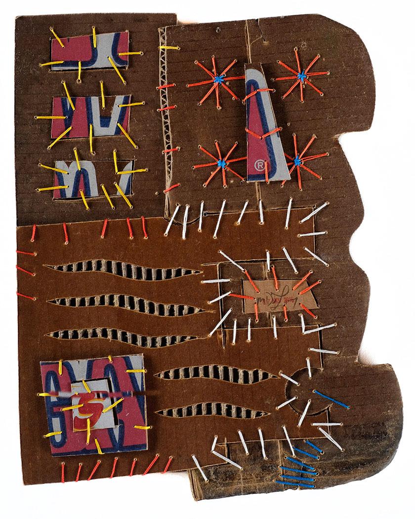 "Mark Delong,  Beach Front , 2016, cotton thread on cardboard, 13""h x 15""w"