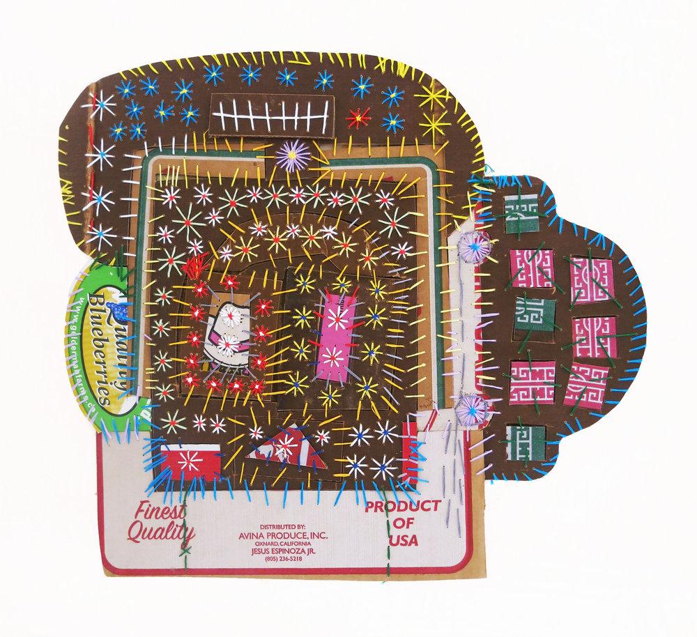 "Mark Delong,  Car cruising by the Big Stadium , 2018, cotton thread on cardboard, 24""h x 22""w"