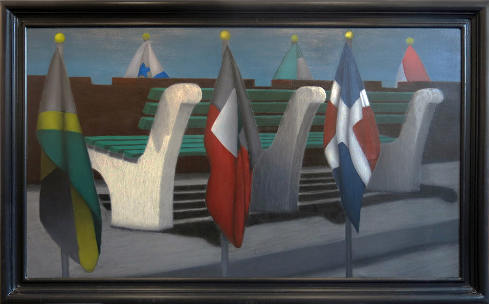 R.L. Kaplan,  Summit III,  1983, Oil on canvas mounted on board, 42h x 68w in. (framed)