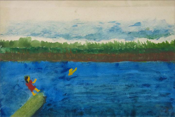 Charles W. Hutson,  Children Swimming,  c. 1910-1920, Watercolor on paper, 9.5h x 13.5w in.