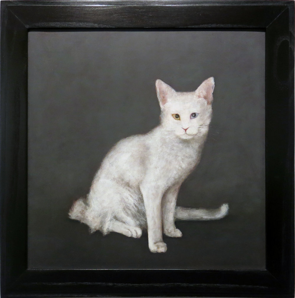 Mary Jo Vath,  Deaf Cat,  1987, Oil on masonite, 14.5h x 14.5w in. (framed)