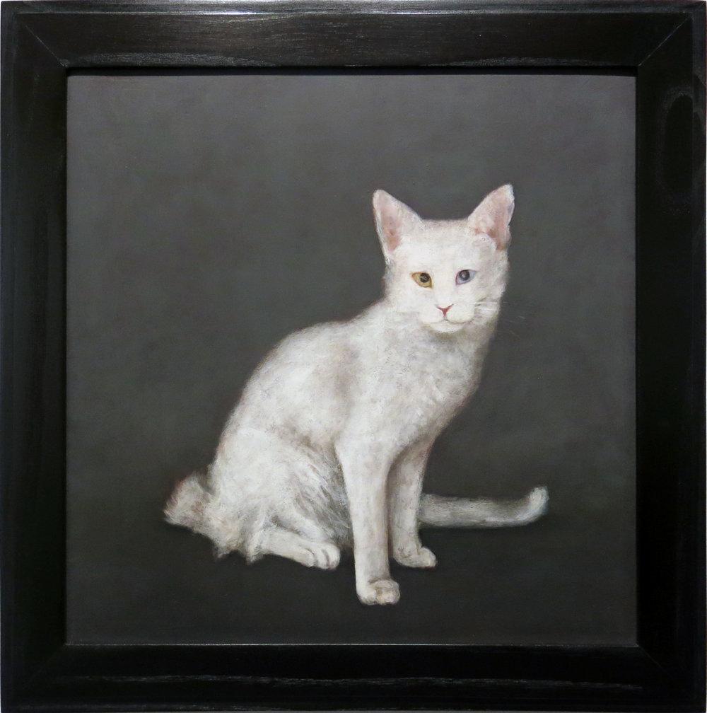 Mary Jo Vath,  Deaf Cat,  1987, Oil on masonite, 14.5h x 14.5w in. (framed)
