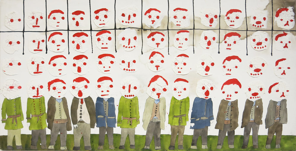 Neil Farber,  Infantry Businessmen,  2012, Mixed media on wood panel, 24h x 48w in.