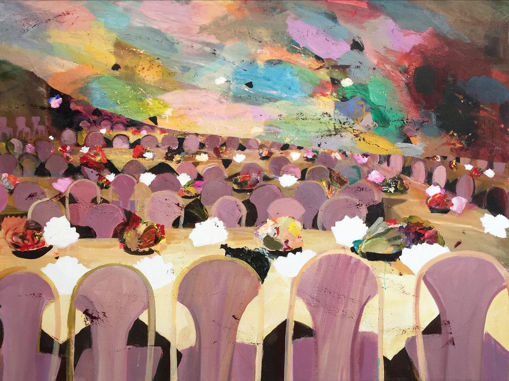 Judith Simonian,  The Sky is Falling,  2018, Acrylic on canvas, 48h x 64w in.