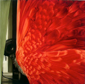 Shawn Spencer,  Red Curtain,  2004, Oil on birch panel, 37 1/2h x 38w in.