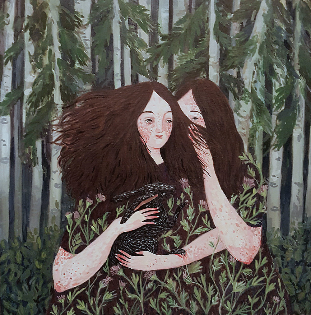 Pitch Pine (2018) Gouache on panel, by Maia Stark