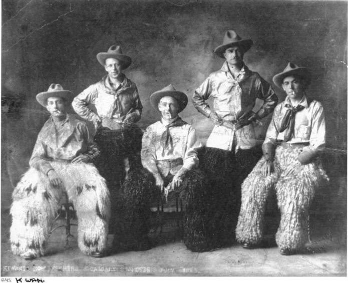 Charles Benjamin in full costume, probably a photo booth at the first combined Calgary Exhibition and Stampede, 1923. He is the guy on the far right.