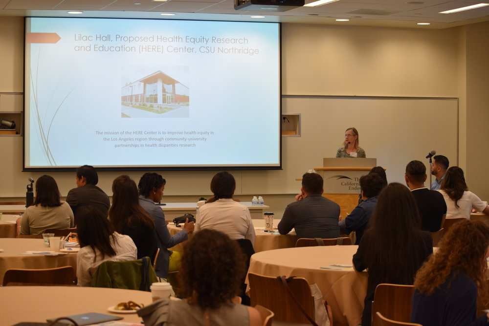 Dr. Saetomore presents information about the Health Equity Research and Education (HERE) Center at CSUN.
