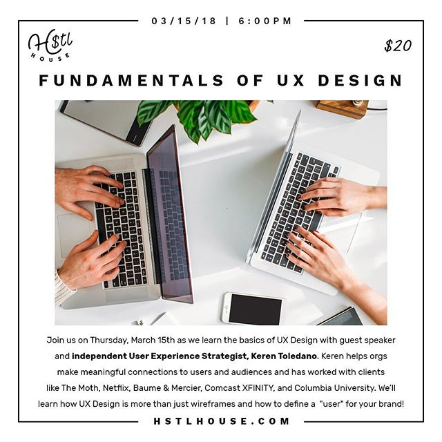 Got a few more workshops up on our site! Check out this one coming up on March 15th on #UXDesign with @thewalkup woot woot!! Tickets available on HSTLHouse.com. 😍