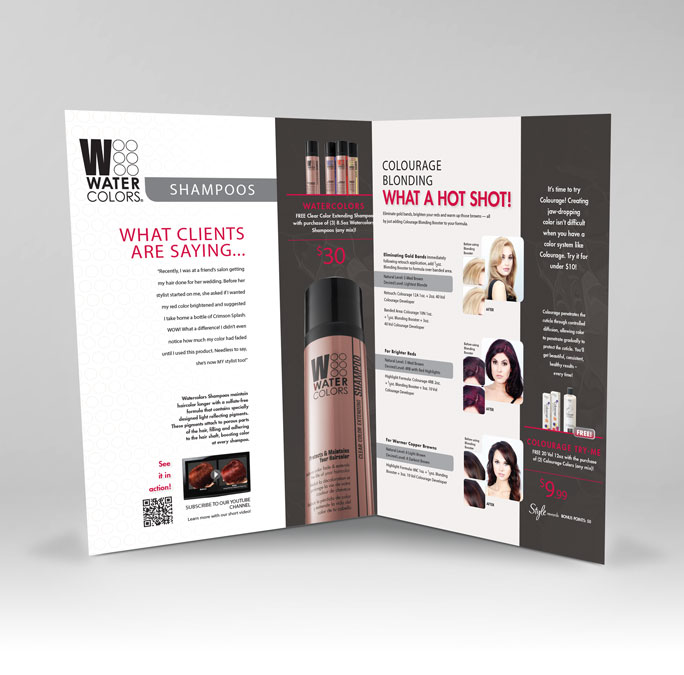 RS Creative&Design_An inside spread of a bi-monthly promotions brochure for a professional haircare line a professional haircare line