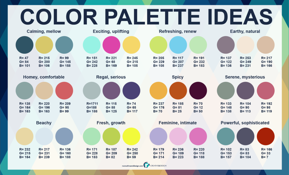 Color palette ideas with RGB numbers plus the top 10 things to know as non-designers.