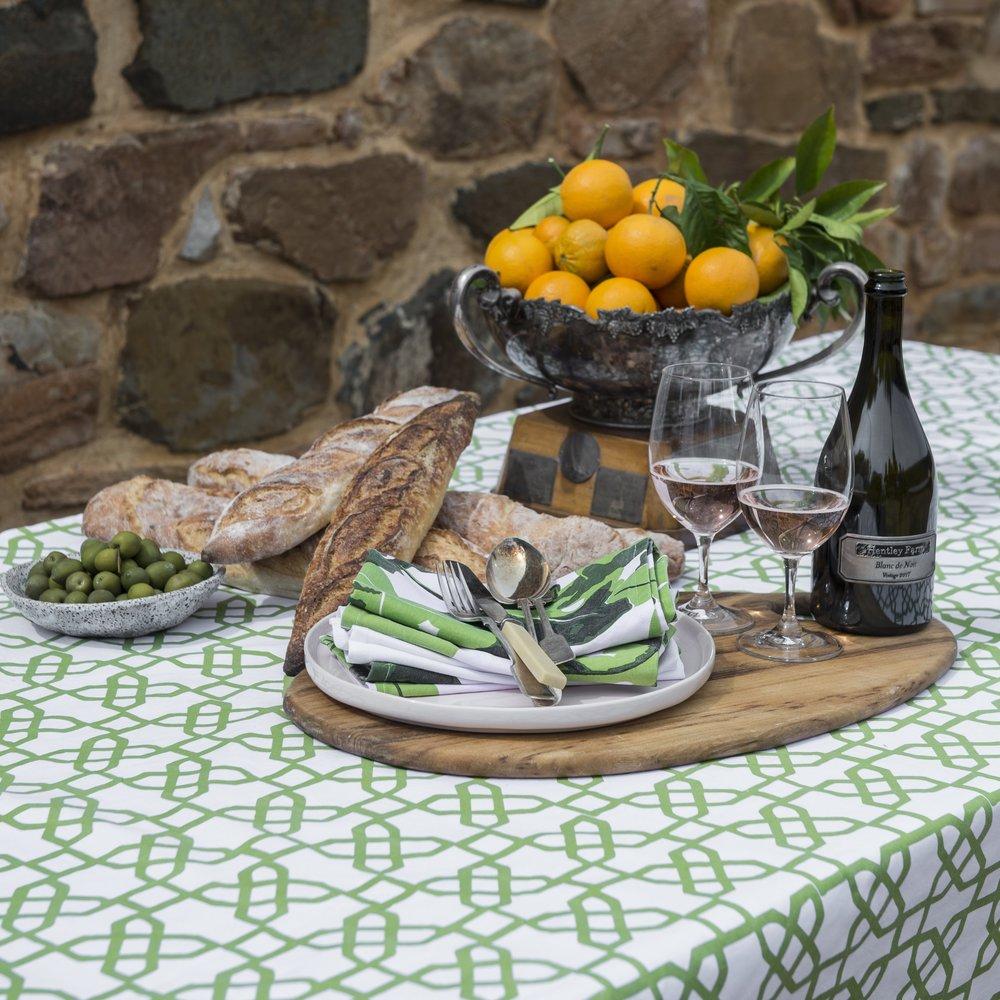 Green Print Tablecloth