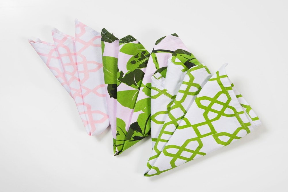 Napkins With Colour... - All pattern napkins are sized 47cm x 47cm and are available to hire for $2 each.