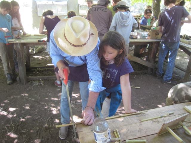 Teaching carpentry at Camp Las Mulas