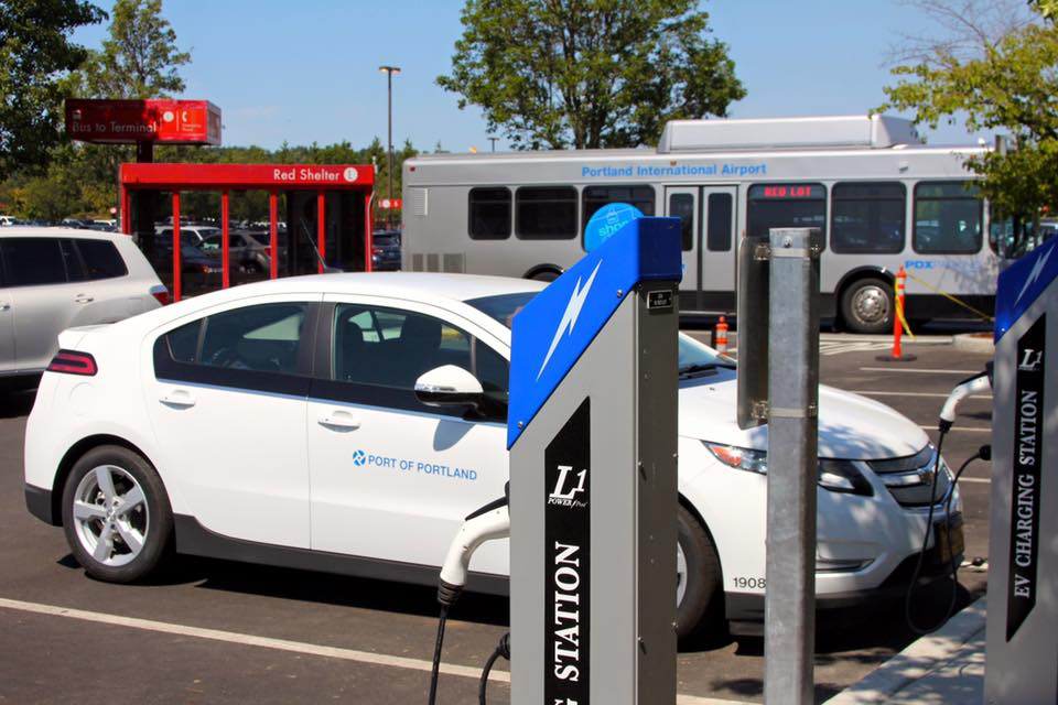 The  Portland International Airport  offers 32 charging stations in its parking lots and structures -- and additional chargers are available for Port and airport staff.