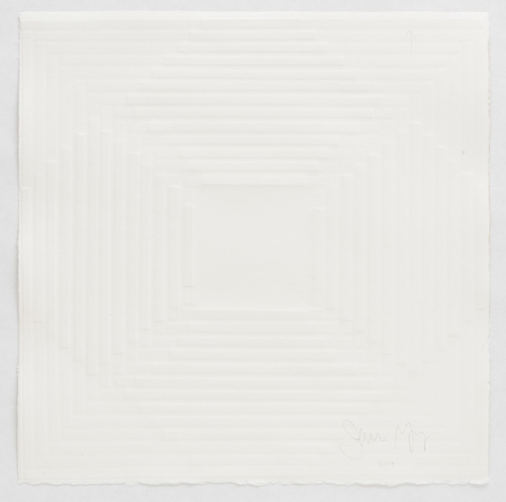 Jenene Nagy  untitled (elevate 2),  2017 Blind embossing on paper, 15.5 x 15.75in.