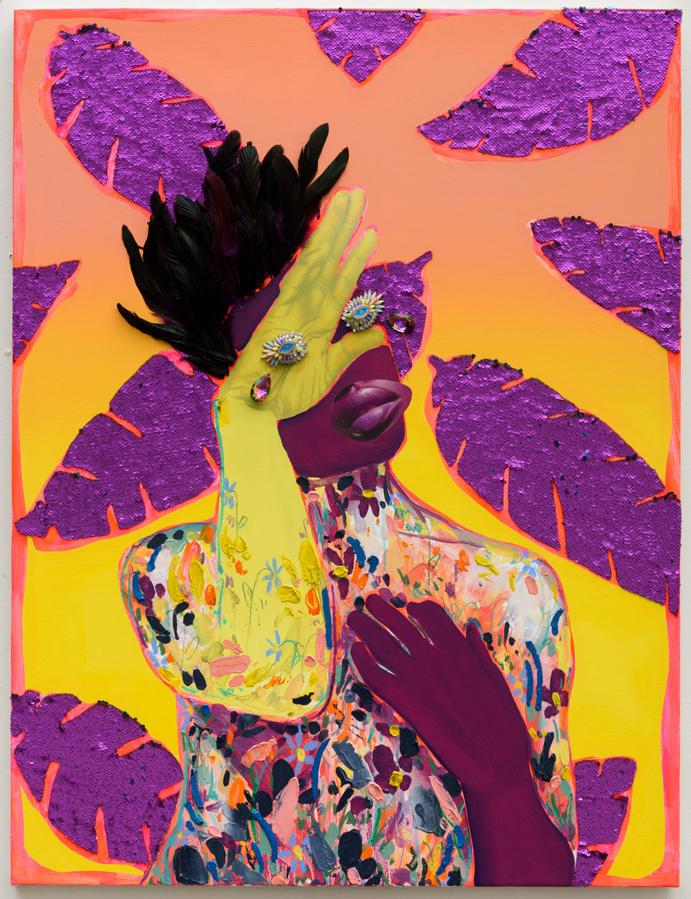 Devan Shimoyama   Crowned  (2017) Oil, color pencil, jewelry, sequins, collage, acrylic and feathers on canvas, 32 x 40in.