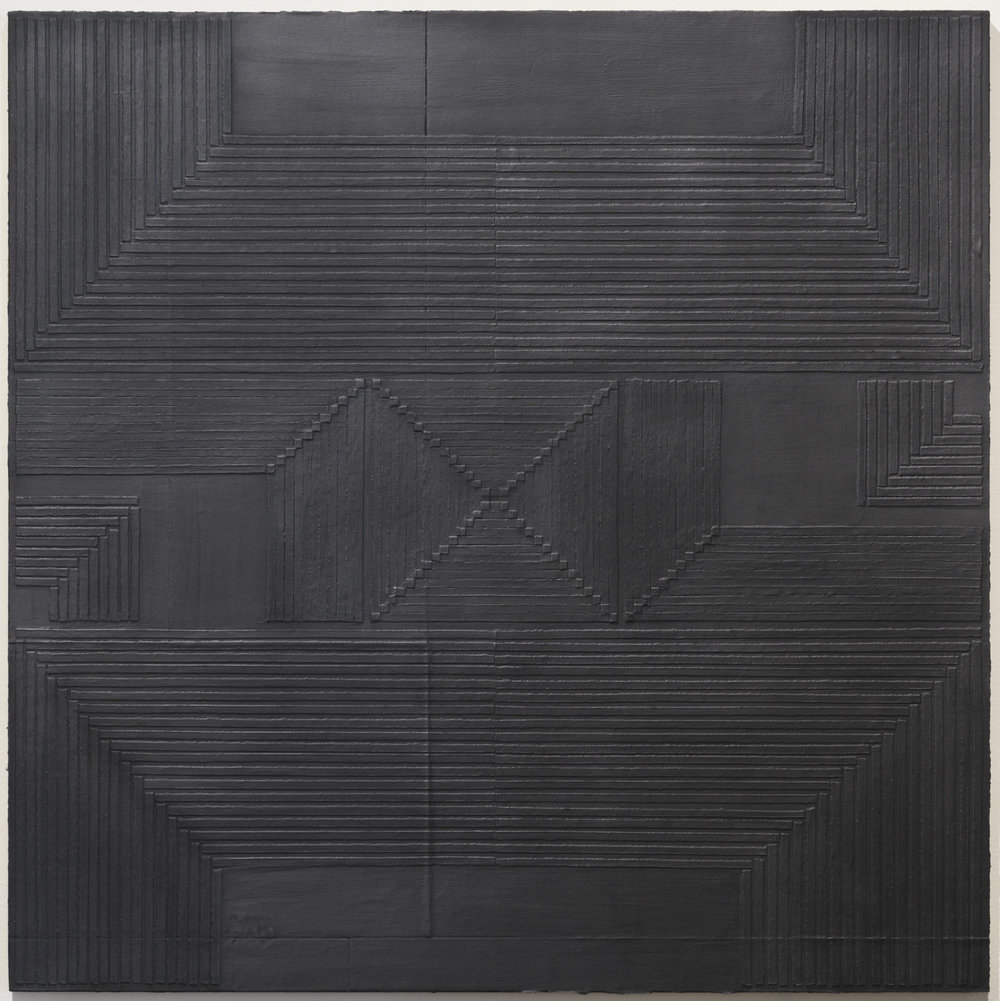 Jenene Nagy   mass 8  (2017) Torn paper and graphite mounted on paper, 32 x 32in.