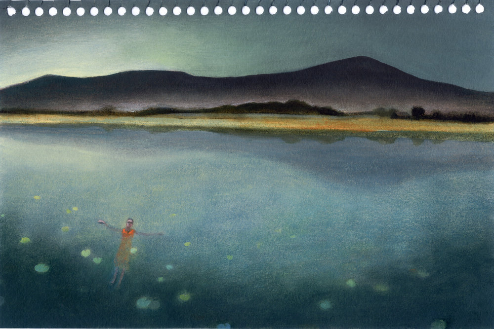 Blue McRight   Untitled (Drifter with Lily Pads) ( 2011) Oil on paper, 9 x 6in.