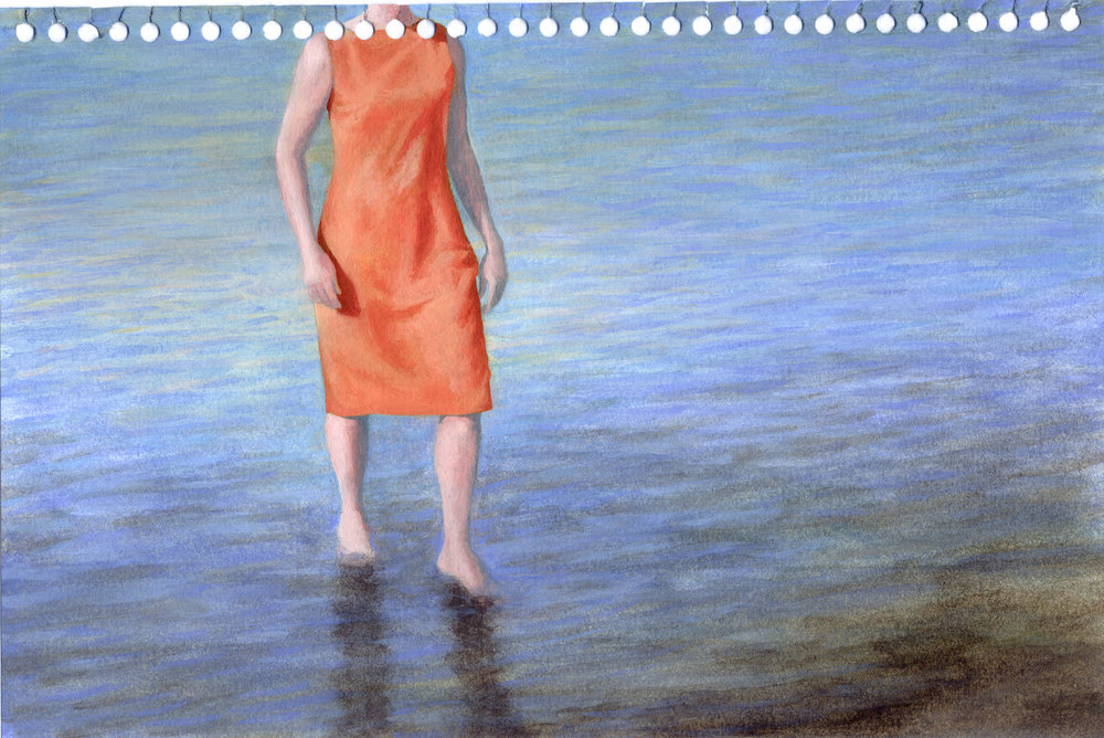 Blue McRight   Untitled (Shore Dive)  (2011) Oil on paper, 9 x 6in.